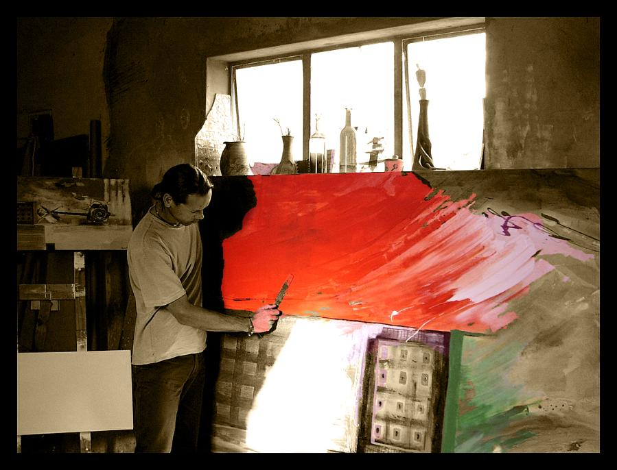 Artist Abstract Painting in Studio