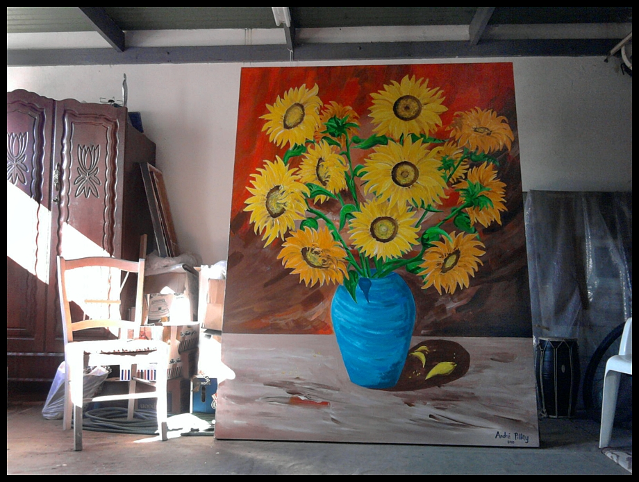 sunflower painting commission in artist studio