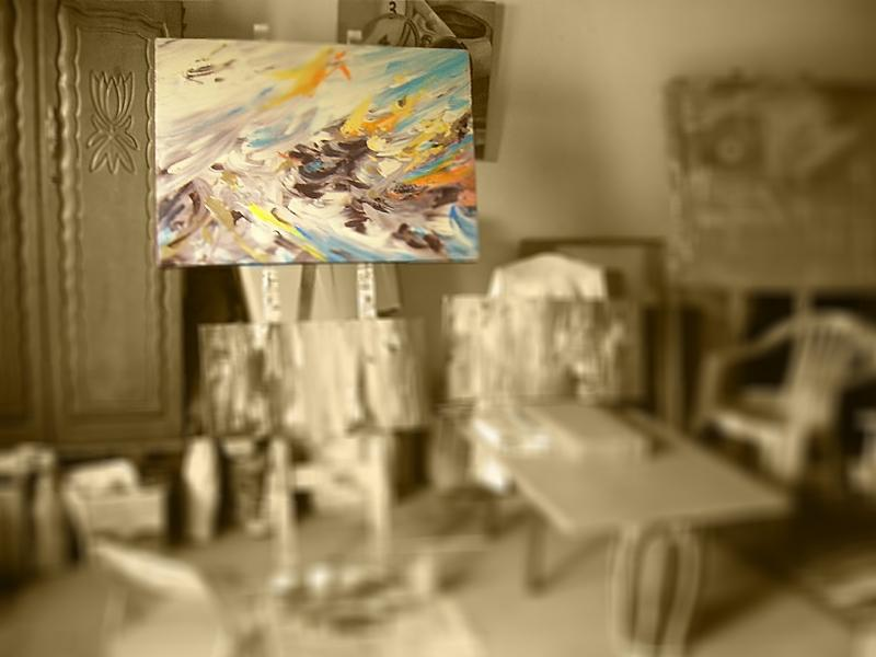 abstract painting in studio ebb and flow